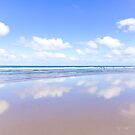 Little fluffy clouds reflected | Watergate Bay, Cornwall, UK by Zoe Power