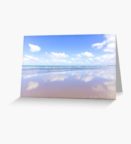 Little fluffy clouds reflected | Watergate Bay, Cornwall, UK Greeting Card