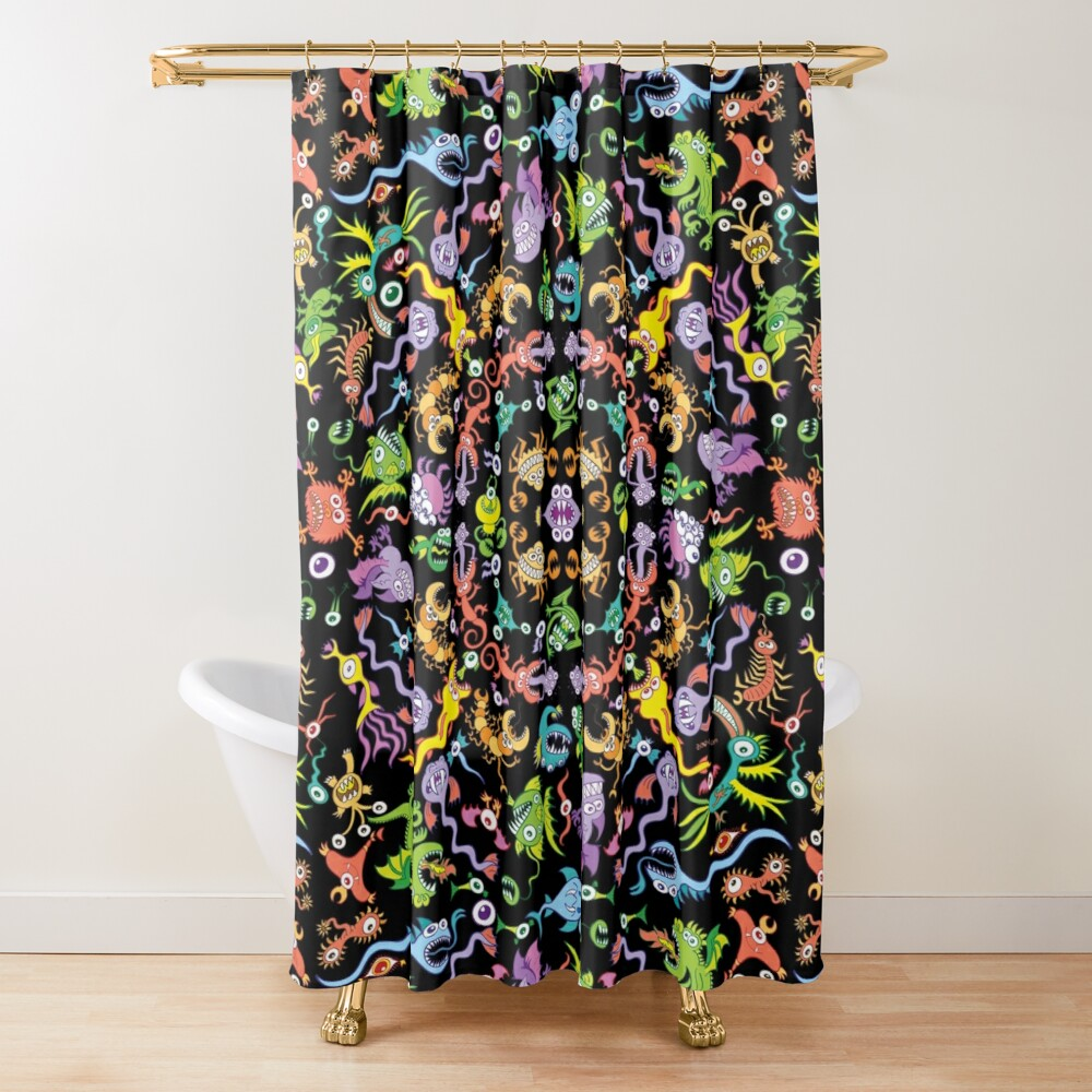 Colorful monsters posing for a terrific pattern design Shower Curtain