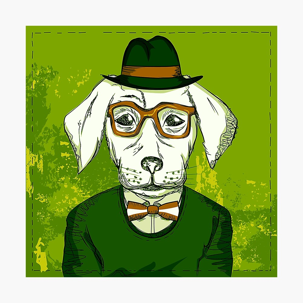 Funky Dog with Hat and Glasses - Dog Wall Art - Green Wall Decor