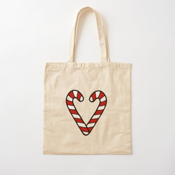Candy Cane Pattern Cotton Tote Bag