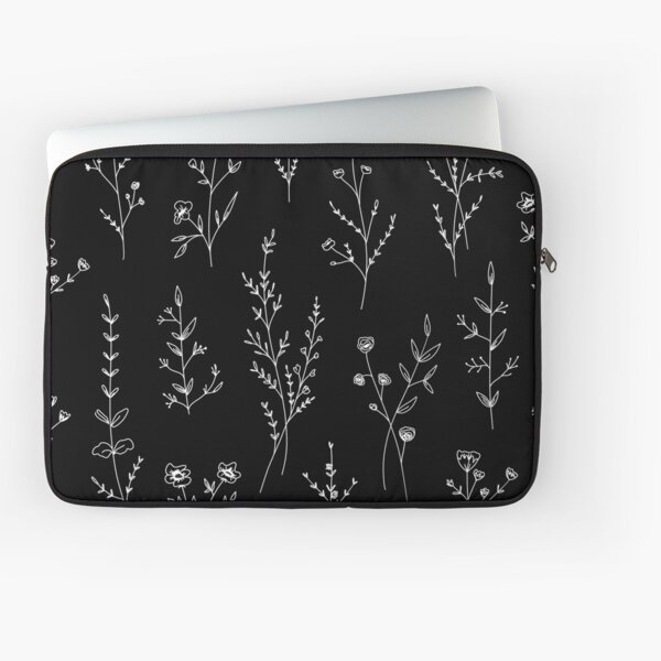 New Wildflowers Black Laptop Sleeve