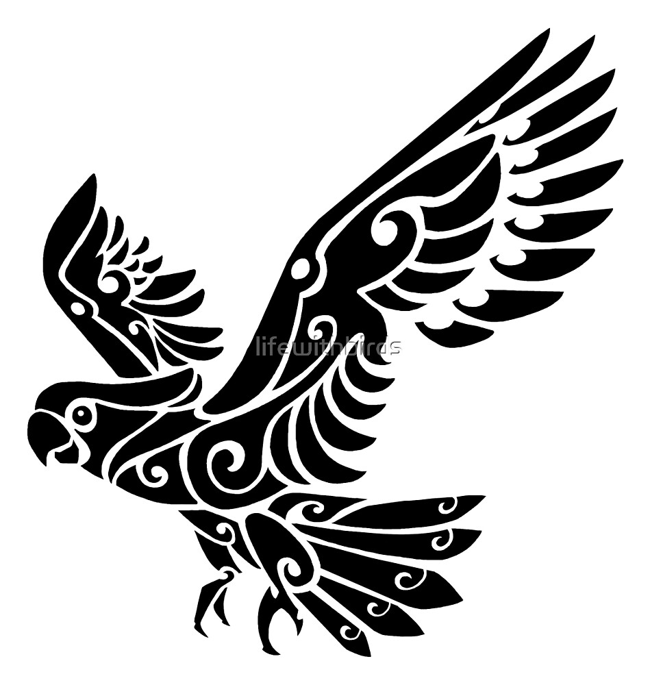 tribal cockatoo parrot bird tattoo by lifewithbirds redbubble. Black Bedroom Furniture Sets. Home Design Ideas