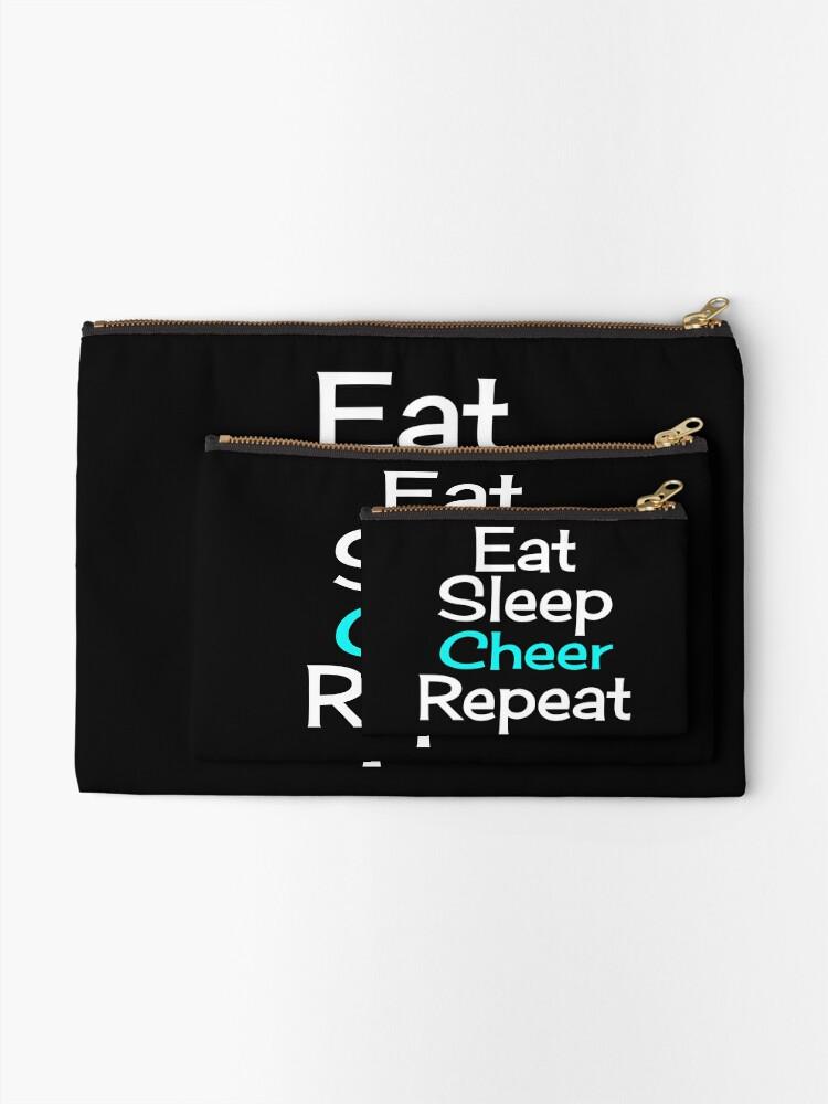 Alternate view of Eat, Sleep, Cheer, Repeat Zipper Pouch