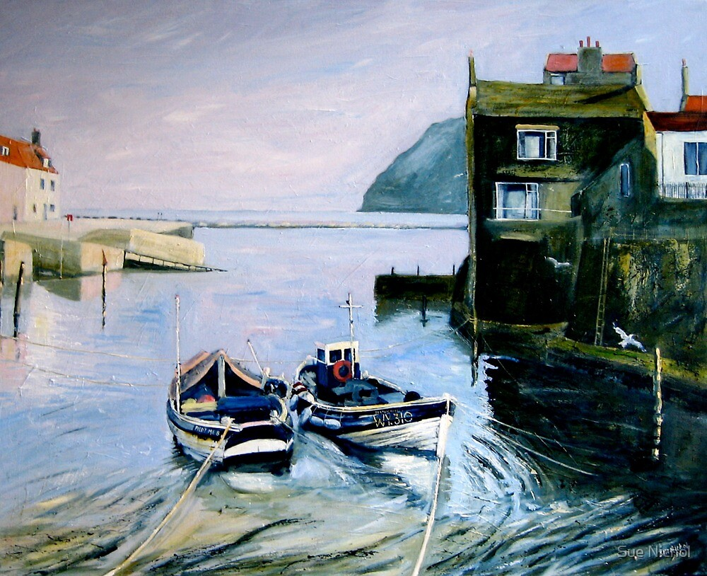 High Tide, Roxby Beck, Staithes by Sue Nichol