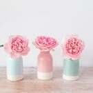 Three roses in pretty pastel vases by Zoe Power