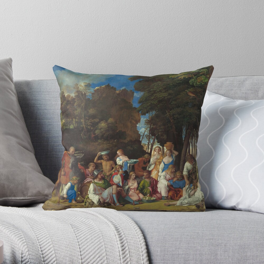 The Feast of the Gods Painting by Giovanni Bellini and Titian Throw Pillow