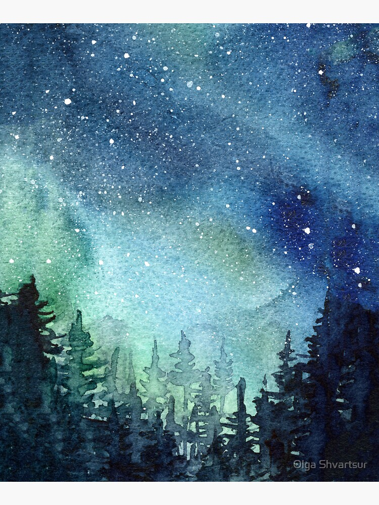 Watercolor Galaxy Nebula Aurora Northern Lights Painting by olga-shvartsur