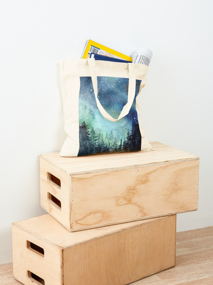 Alternate view of Watercolor Galaxy Nebula Aurora Northern Lights Painting Tote Bag
