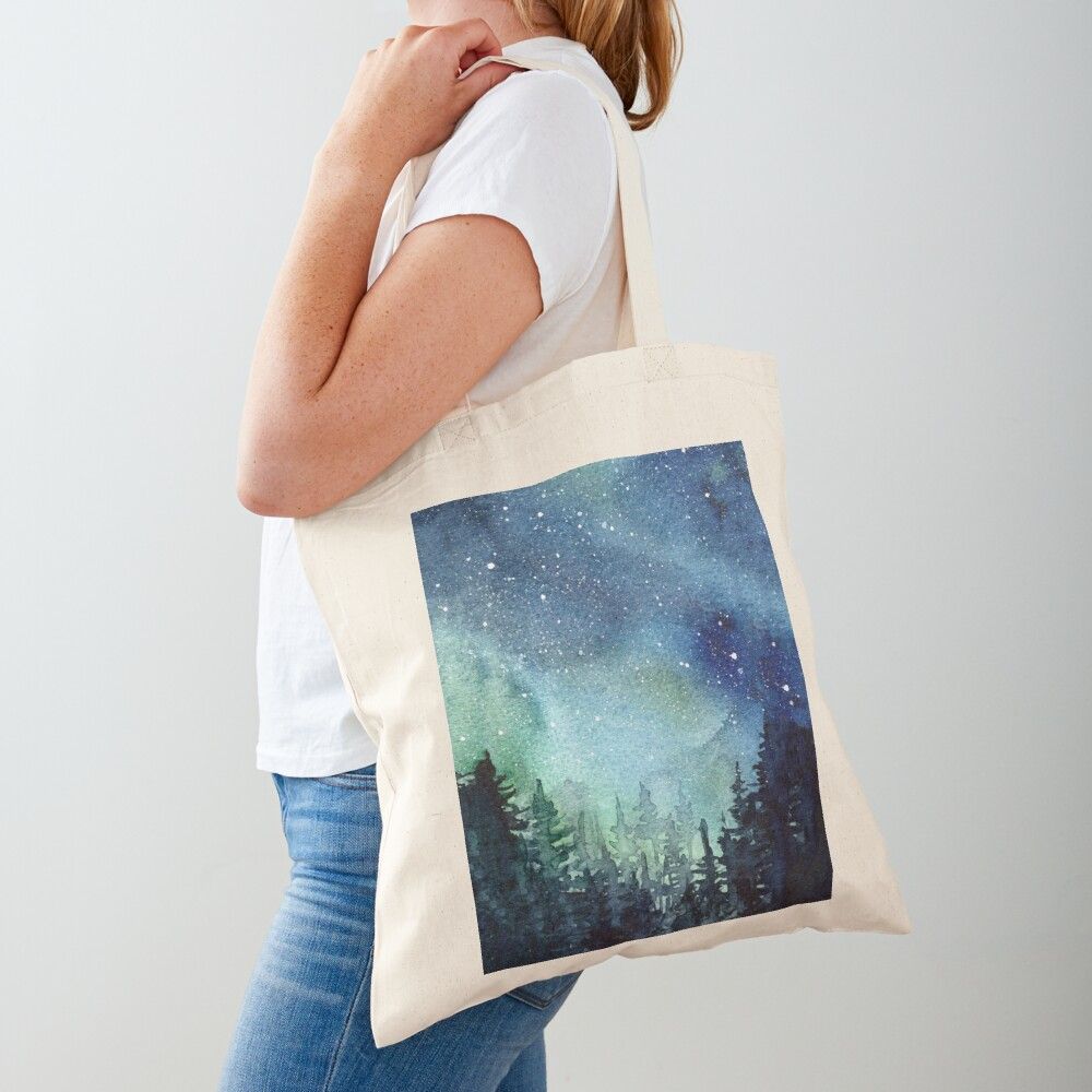 Watercolor Galaxy Nebula Aurora Northern Lights Painting Tote Bag