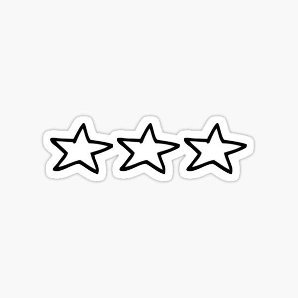 3 Black and White Stars Sticker