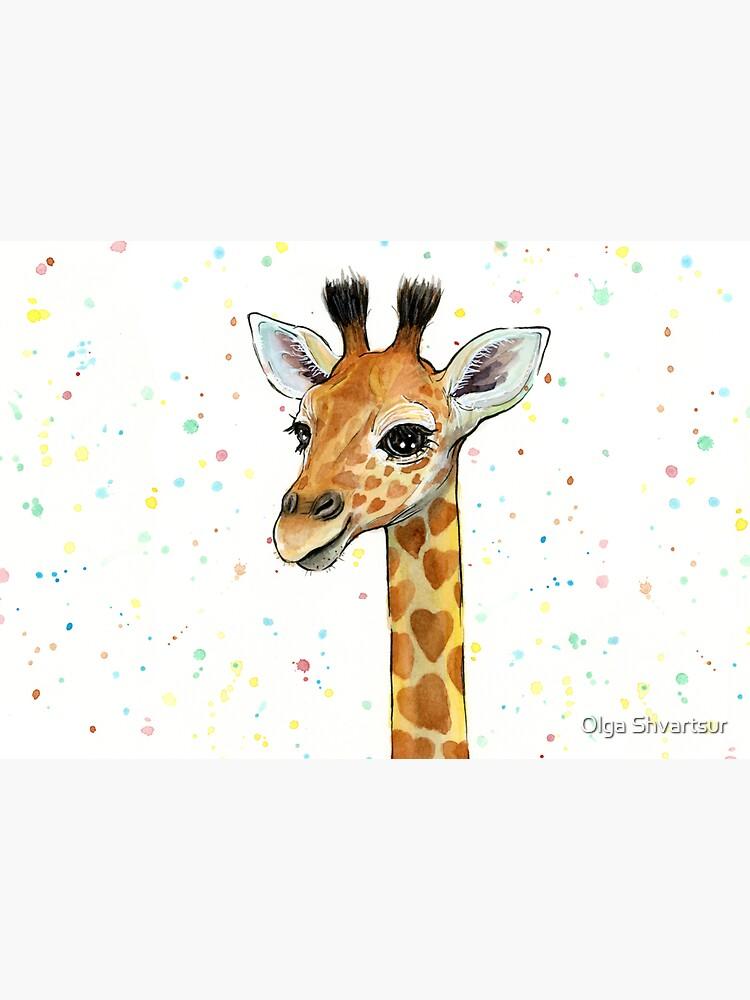 Baby Giraffe with Hearts Watercolor Animal by olga-shvartsur