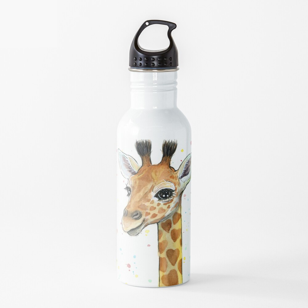 Baby Giraffe with Hearts Watercolor Animal Water Bottle