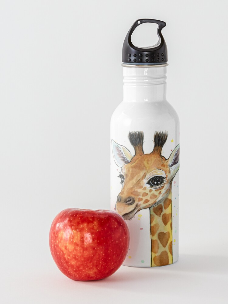 Alternate view of Baby Giraffe with Hearts Watercolor Animal Water Bottle