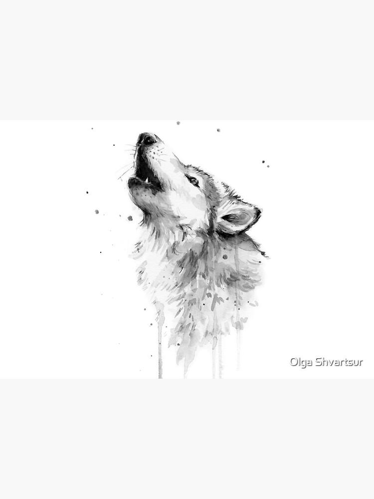 Wolf Howling Watercolor by olga-shvartsur