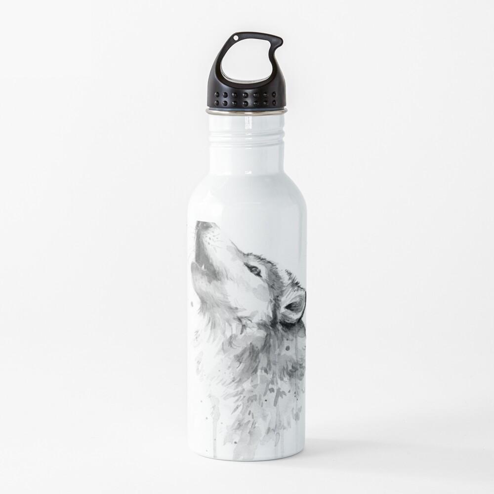 Wolf Howling Watercolor Water Bottle
