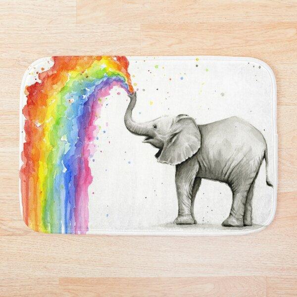 Baby Elephant Spraying Rainbow Bath Mat