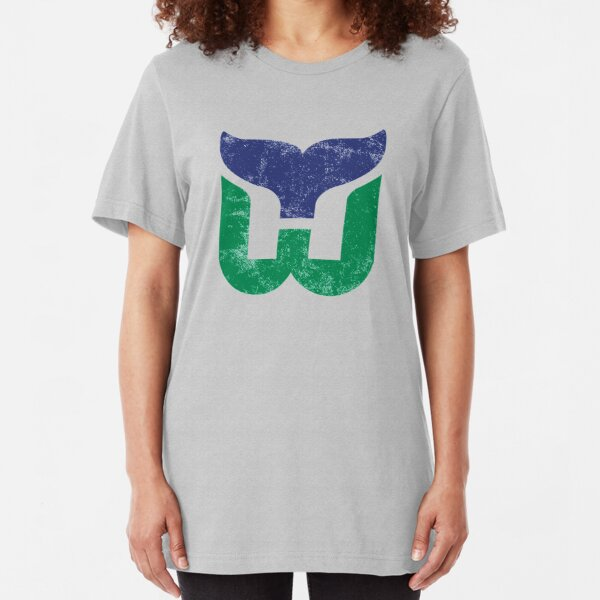 Hartford Whalers Distressed Logo - Defunct Hockey Team - The Whale - Brass Bonanza - Connecticut Hockey Slim Fit T-Shirt
