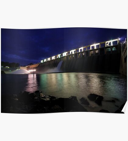Hume Weir wall at night Poster
