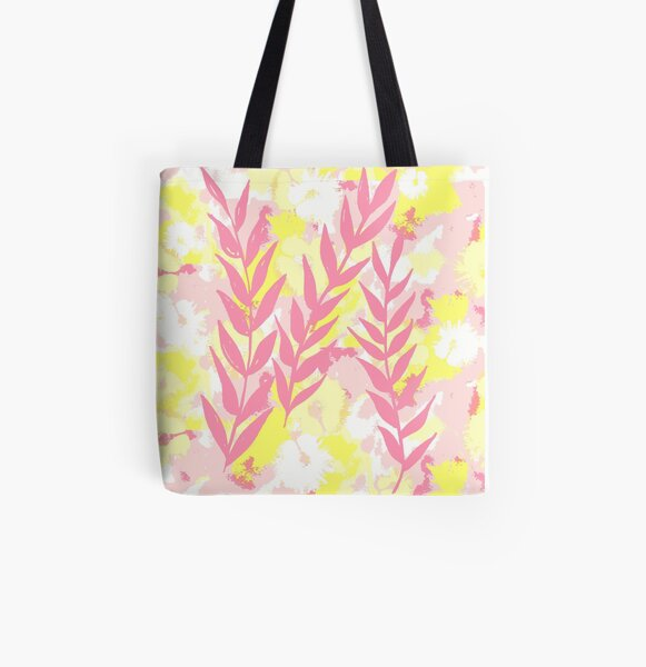 Leaves in peach colors All Over Print Tote Bag