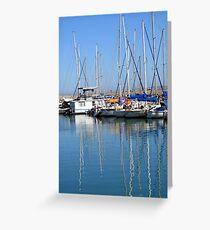 Boats at Club Mykonos Greeting Card