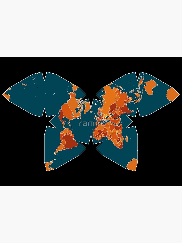 Orange/Red World Map on Blue/Black Backround in Waterman Projection by ramiro