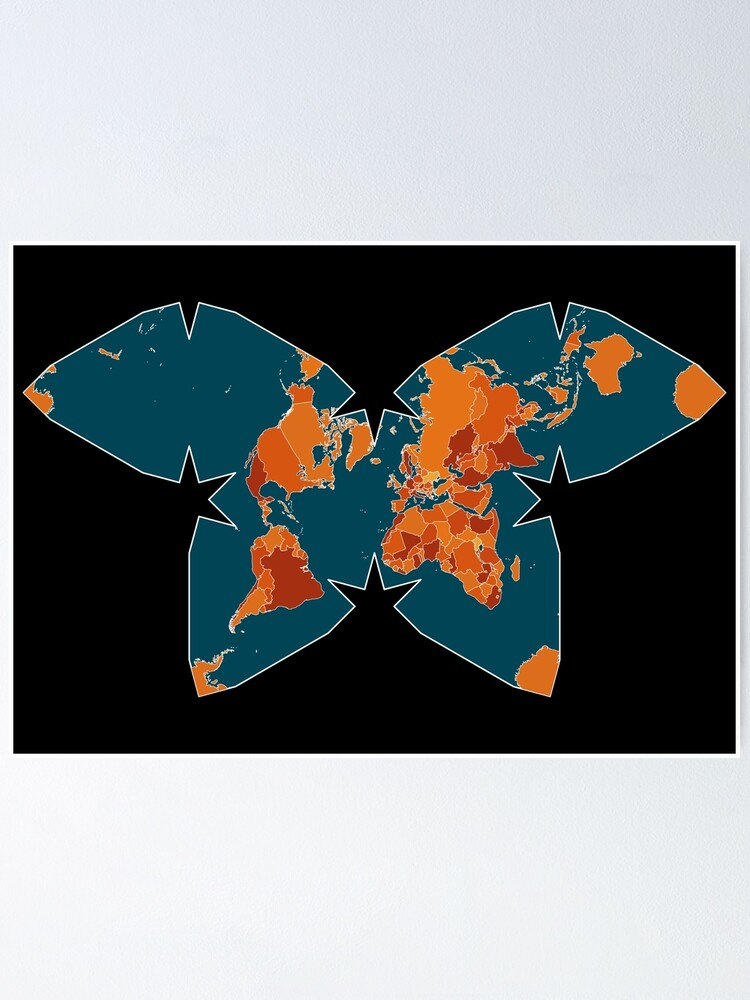 Alternate view of Orange/Red World Map on Blue/Black Backround in Waterman Projection Poster