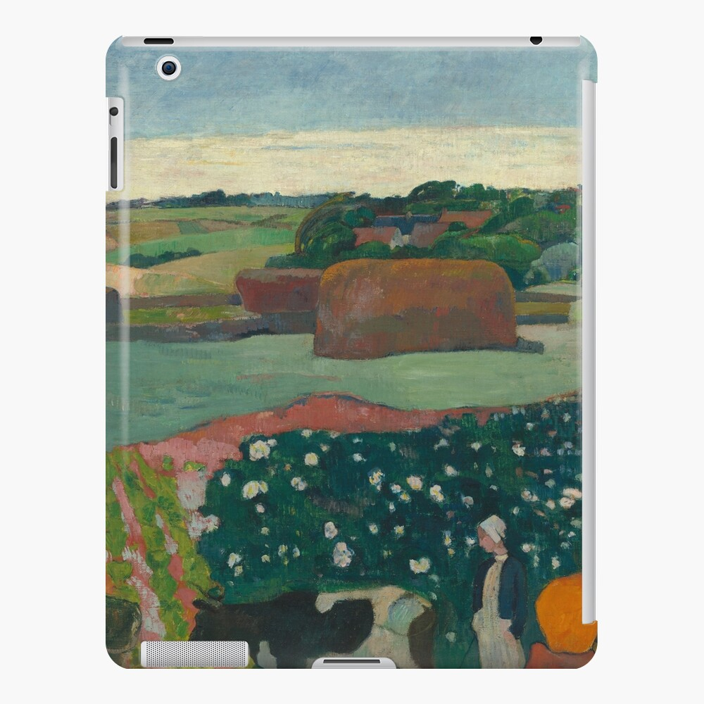 Haystacks in Brittany Oil Painting by Paul Gauguin iPad Case & Skin