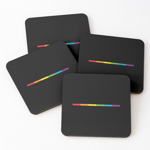 LGBT thin subtle modern rainbow flag on black Gay Lesbian Bisexual Pride  Coasters (Set of 4)