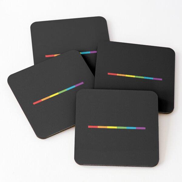 LGBT delgada, sutil, moderna, bandera del arco iris en negro Gay Lesbian Bisexual Pride Posavasos (lote de 4)