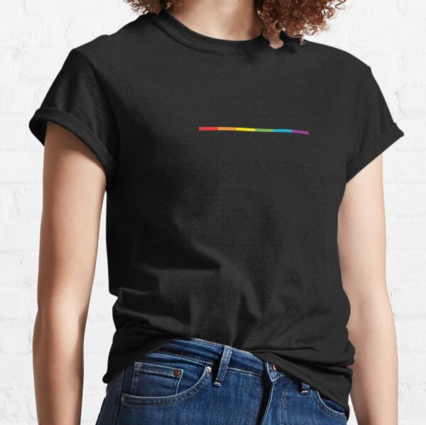 LGBT thin subtle modern rainbow flag on black Gay Lesbian Bisexual Pride  Classic T-Shirt