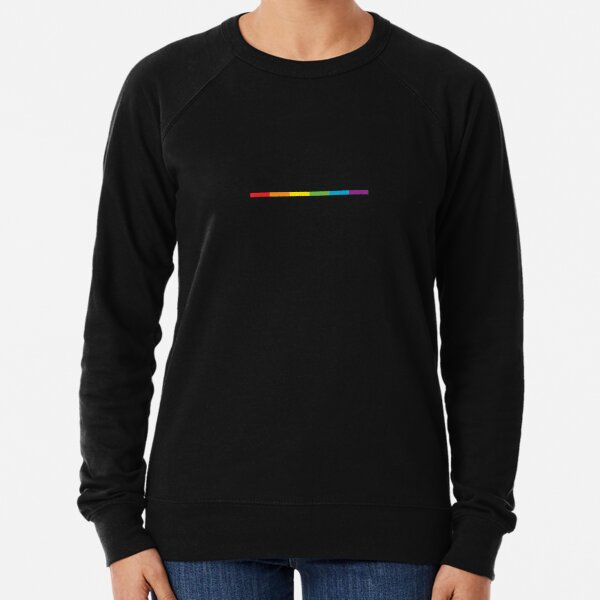 LGBT thin subtle modern rainbow flag on black Gay Lesbian Bisexual Pride  Lightweight Sweatshirt