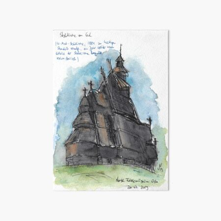 Gol Stave Church Art Board Print