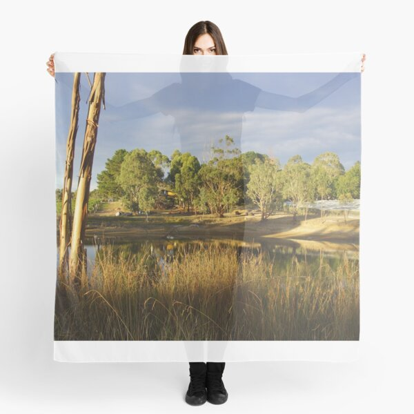 Summer by the Dam - Adelaide Hills Wine Region - Fleurieu Peninsula by South Australian artist Avril Thomas Scarf