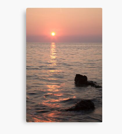 Verudela Beach at sundown Canvas Print