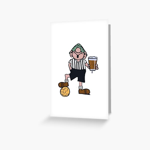 ANDY CAPP BLACK AND WHITE FOOTBALL SHIRT Greeting Card