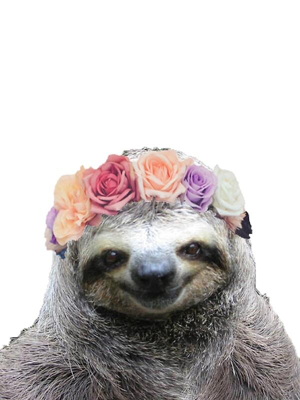 Quot Flower Crown Sloth Quot Art Prints By Mythsinc Redbubble