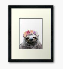 Flower Crown Sloth Framed Print