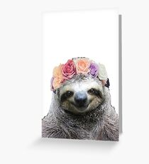 Flower Crown Sloth Greeting Card