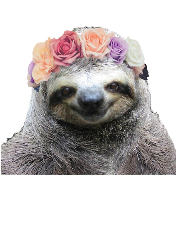 Quot Flower Crown Sloth Quot Stickers By Mythsinc Redbubble