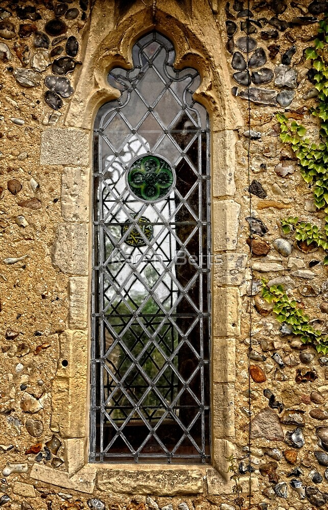 Leaded window (Barsham Church) by Karen  Betts