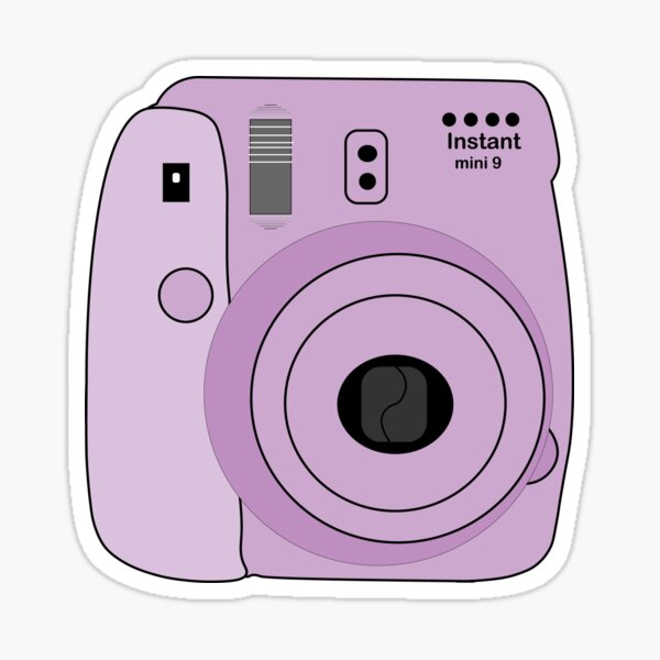 Cámara Polaroid Púrpura Pegatina