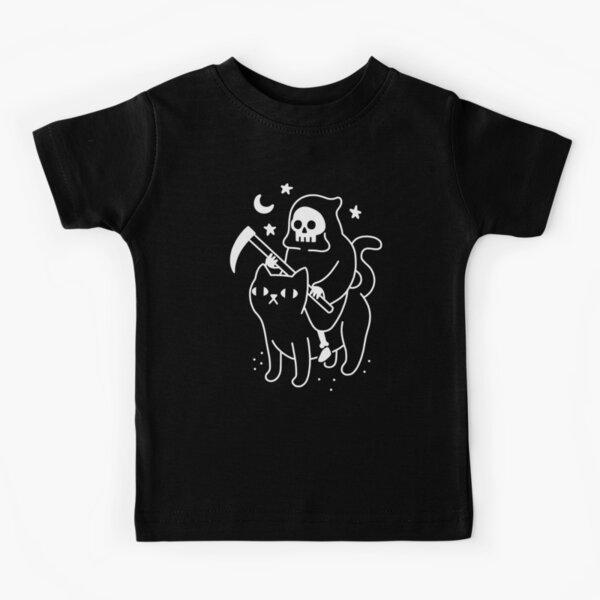 Der Tod reitet eine schwarze Katze Kinder T-Shirt
