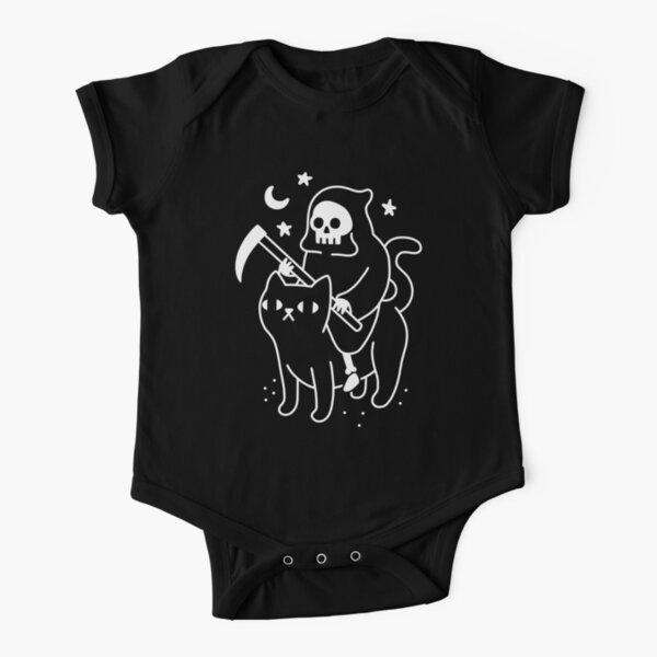Death Rides A Black Cat Short Sleeve Baby One-Piece