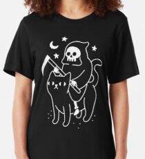 Death Rides A Black Cat Slim Fit T-Shirt