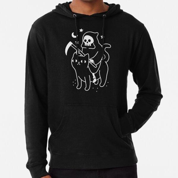 Death Rides A Black Cat Lightweight Hoodie