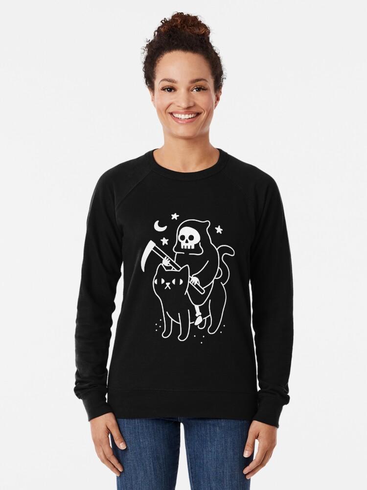 Alternate view of Death Rides A Black Cat Lightweight Sweatshirt
