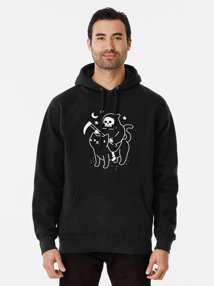 Alternate view of Death Rides A Black Cat Pullover Hoodie