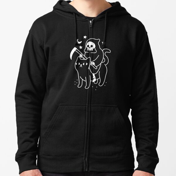Death Rides A Black Cat Zipped Hoodie
