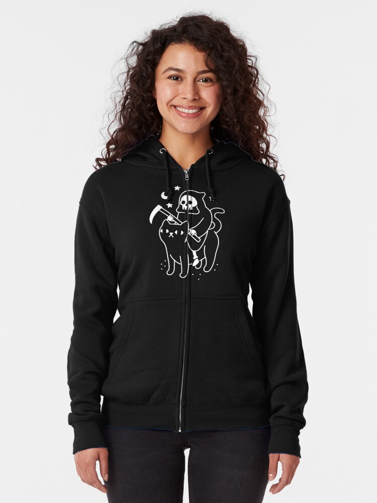 Alternate view of Death Rides A Black Cat Zipped Hoodie